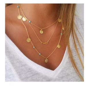 Jewelry - 4 for $25⚡️multilayer coin infinity necklace